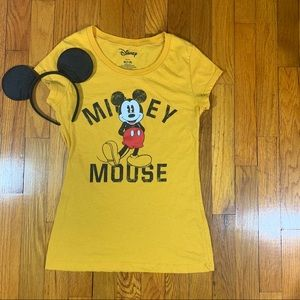 Mickey Mouse Yellow Crew Neck Graphic T-shirt